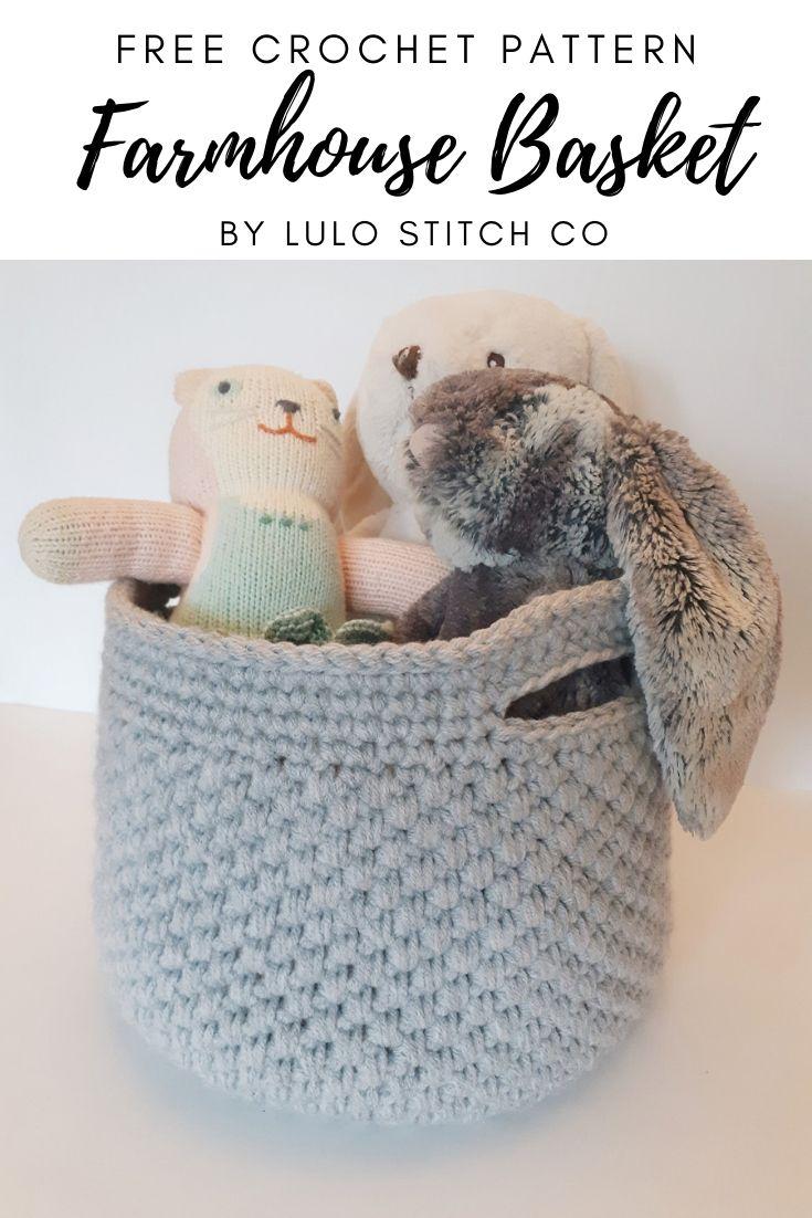 Free Crochet Pattern Farmhouse Basket