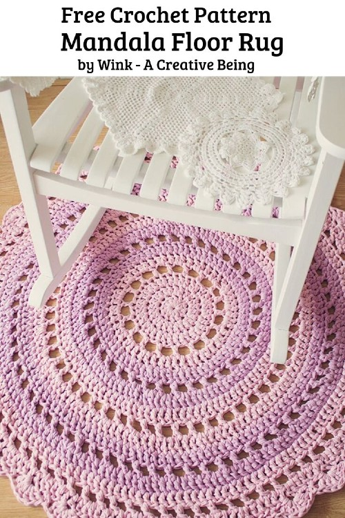 Free Crochet Pattern Mandala Floor Rug