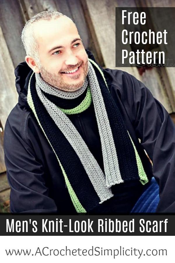 Free Crochet Pattern Men's Knit Look Scarf