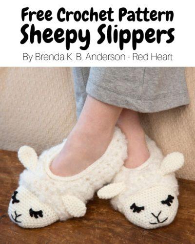 Free Crochet Pattern Sheepy Slippers