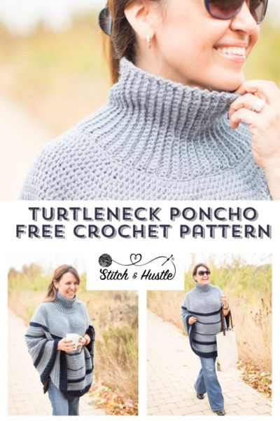 Free Crochet Pattern Turtleneck Poncho