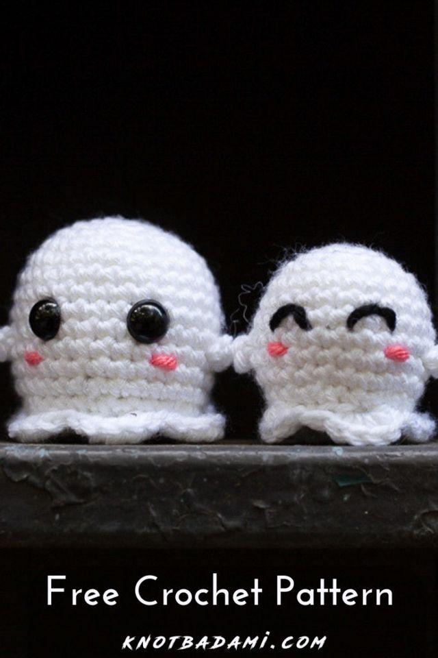 Free Crochet Pattern Chibi Ghosts