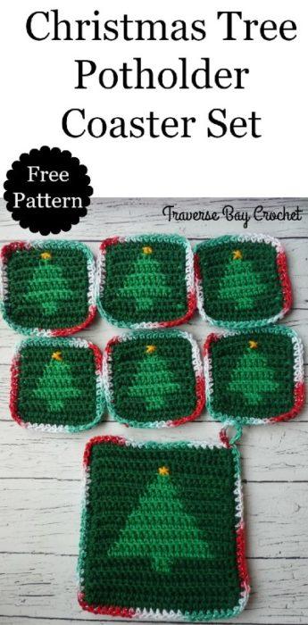Free Crochet Pattern Christmas Tree Coaster