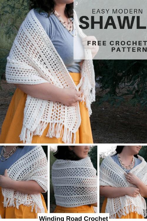 Free Crochet Pattern Easy Modern Shawl