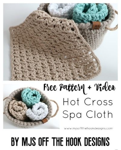 Free Crochet Pattern Hot Cross Spa Cloth