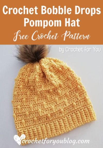 Free Crochet Pattern Bobble Drops Hat