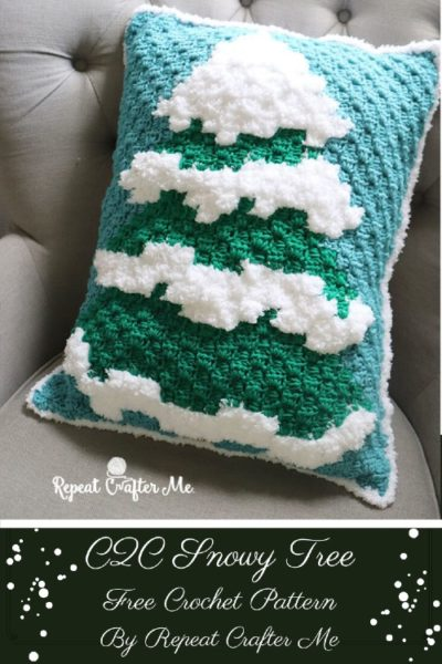 Free Crochet Pattern C2C Snowy Tree