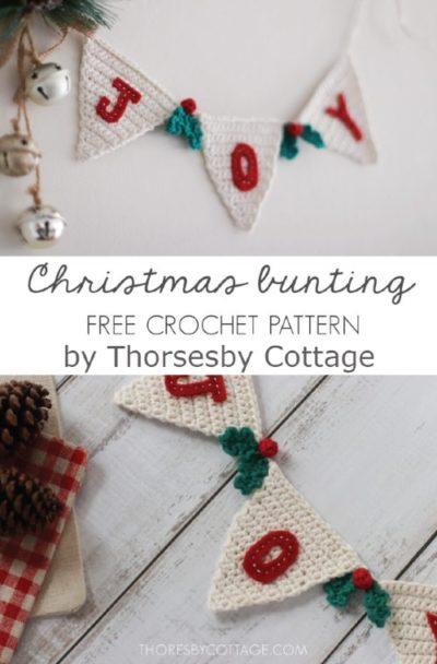 Free Crochet Pattern Christmas Bunting