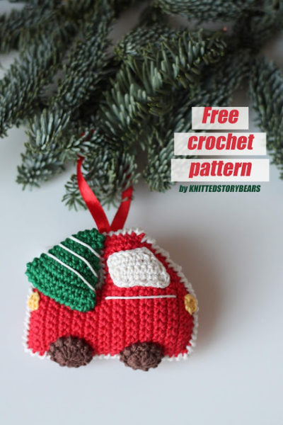 Free Crochet Pattern Christmas Car and Tree