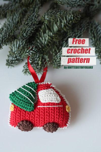 Free Crochet Pattern Christmas Car and Tree