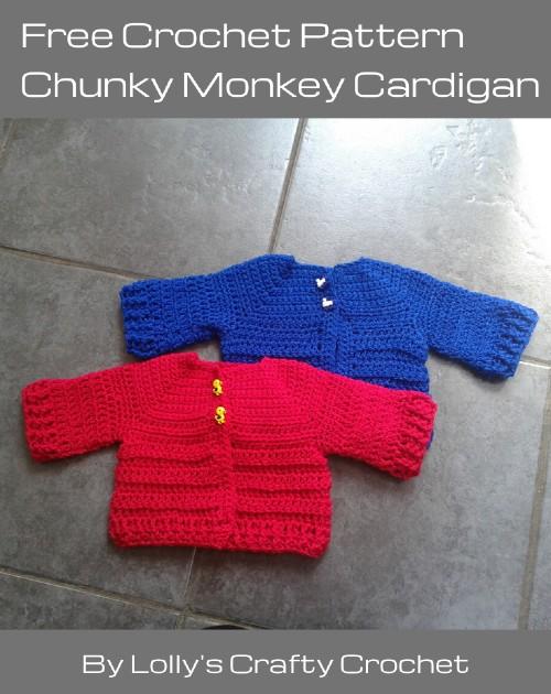 Free Crochet Pattern Chunky Monkey Cardigan