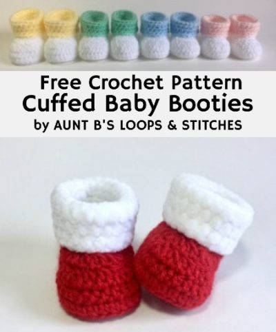 Free Crochet Pattern Cuffed Baby Booties