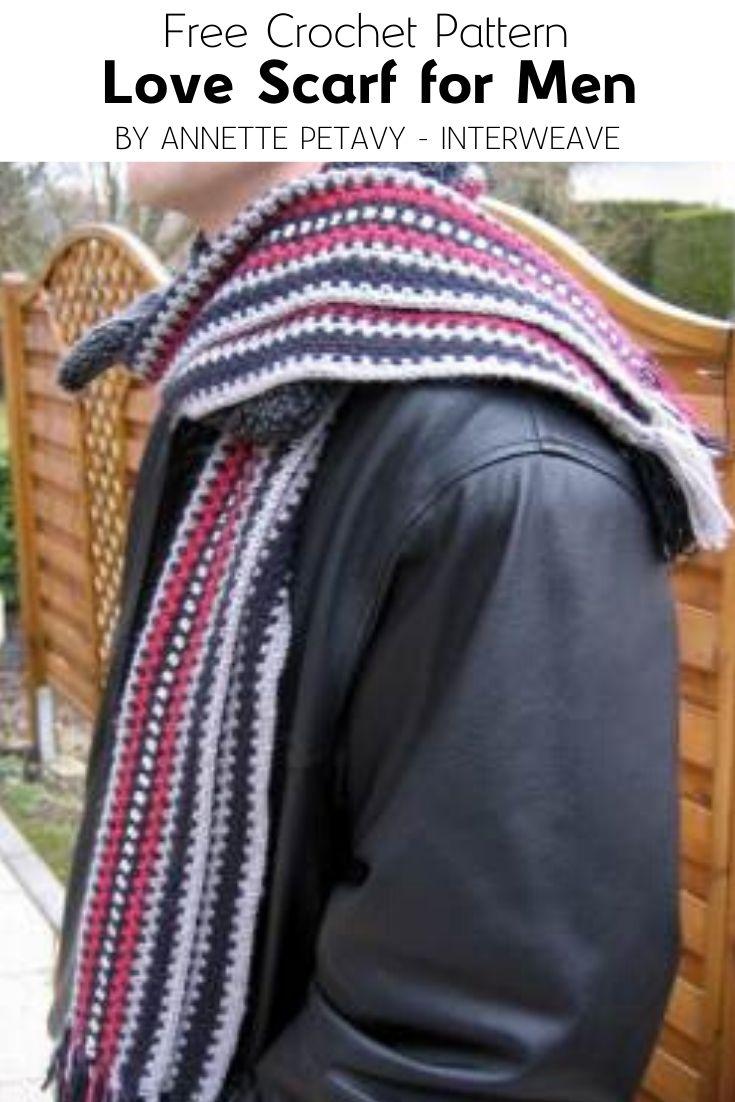 Free Crochet Pattern Love Scarf for Men