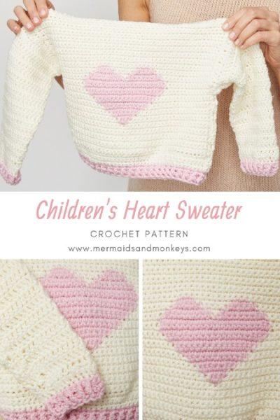 Free Crochet Pattern Children's Heart Sweater