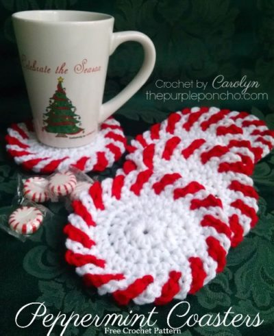 Free Crochet Pattern Christmas Peppermint Coasters