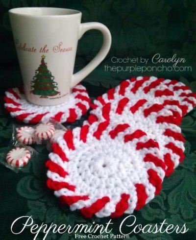 Free Crochet Pattern Christmas Peppermint Coasters