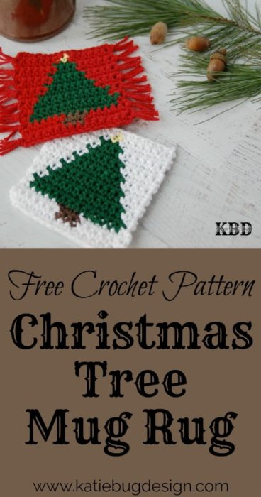 Free Crochet Pattern Christmas Tree Mug Rug