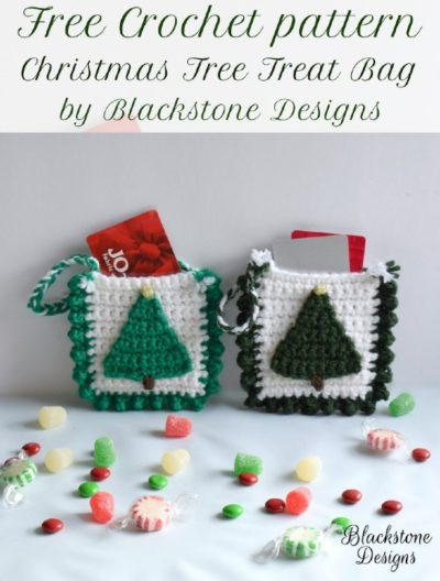 Free Crochet Pattern Christmas Tree Treat Bag