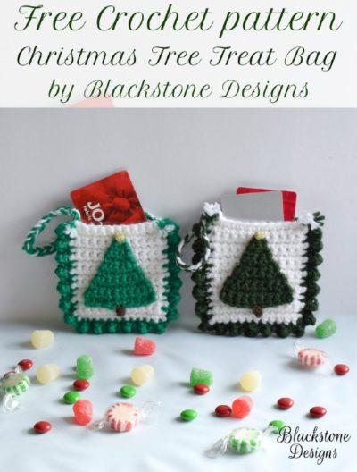 Free Crochet Pattern Christmas Tree Treat Bag