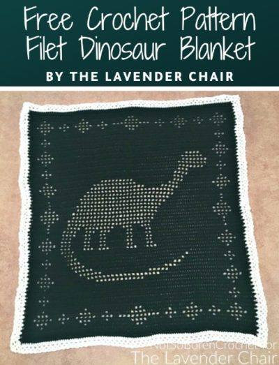 Free Crochet Pattern Filet Dinosaur Blanket
