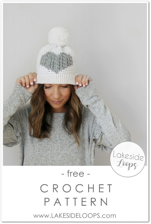 Free Crochet Pattern Henley Cable Heart Hat