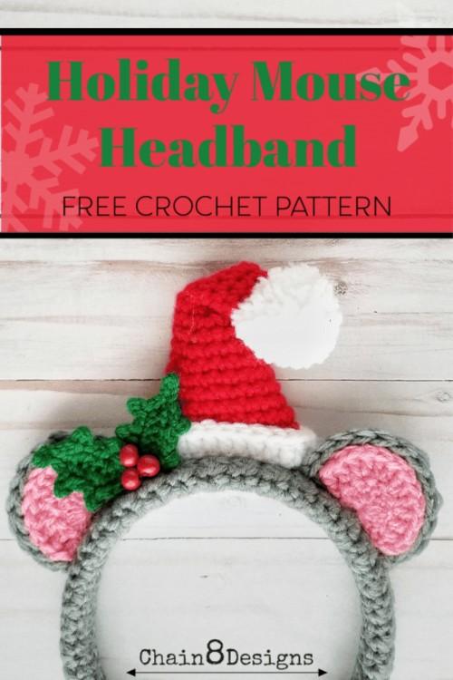 Free Crochet Pattern Holiday Mouse Headband
