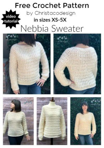 Free Crochet Pattern Nebbia Sweater