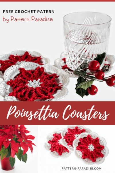 Free Crochet Pattern Poinsettia Coasters
