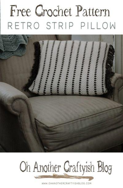 Free Crochet Pattern Retro Strip Pillow