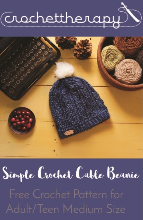 Free Crochet Pattern Simple Cable Beanie