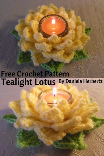 Free Crochet Pattern Tealight Lotus