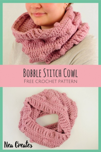 Free Crochet Pattern Bobble Stitch Cowl