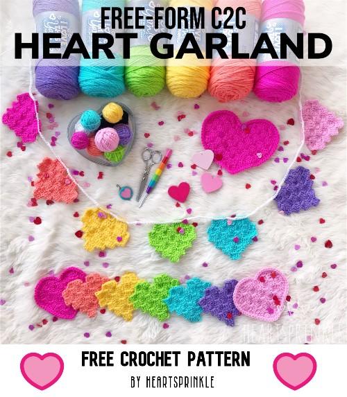 Free Crochet Pattern C2C Heart Garland