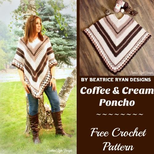 Free Crochet Pattern Coffee & Cream Poncho