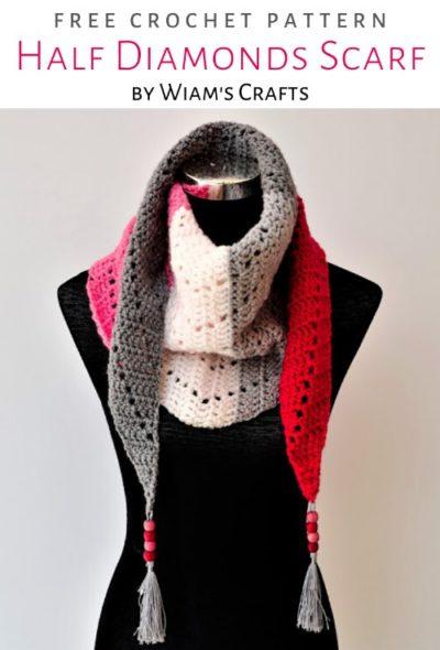 Free Crochet Pattern Half Diamonds Scarf