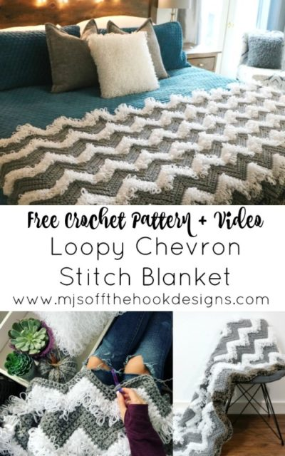 Free Crochet Pattern Loopy Chevron Stitch Blanket