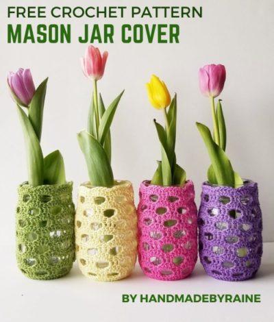 Free Crochet Pattern Mason Jar Cover