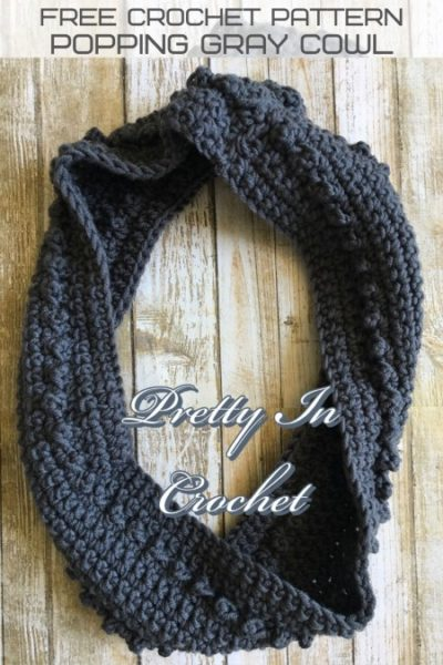 Free Crochet Pattern Popping Gray Cowl
