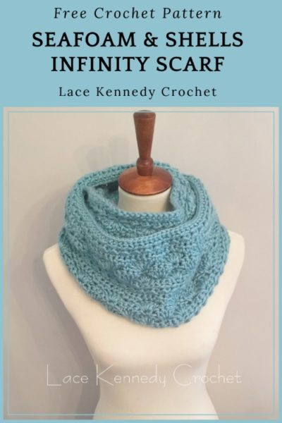 Free Crochet Pattern Seafoam & Shells Scarf