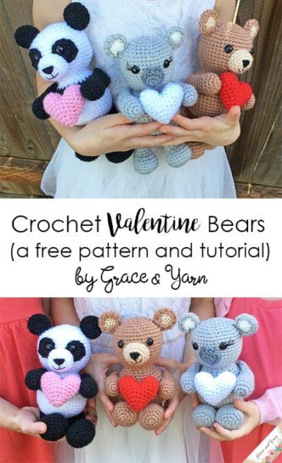 Free Crochet Pattern Valentine Bears