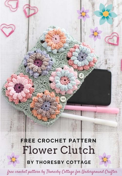Free Crochet Pattern Flower Clutch