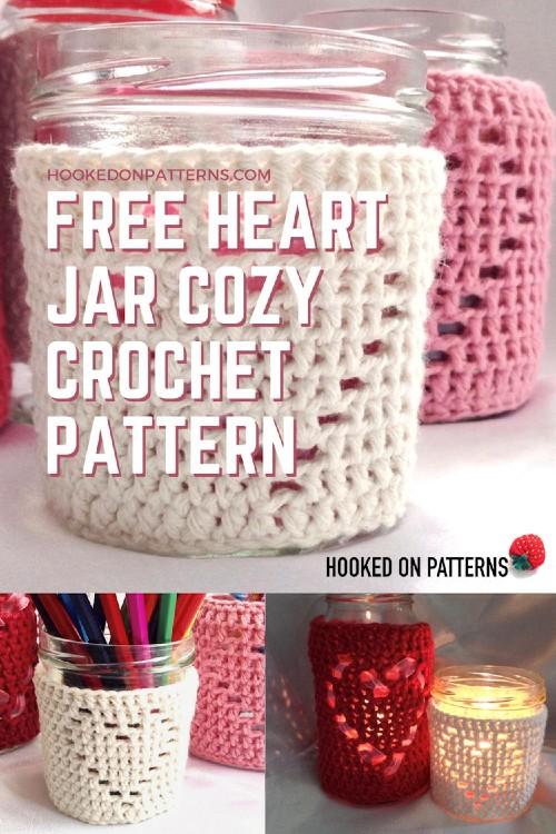 Free Crochet Pattern Heart Jar Cozy