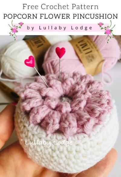 Free Crochet Pattern Popcorn Flower Pincushion