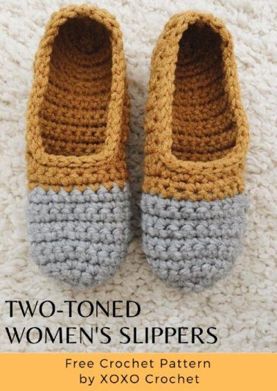 Free Crochet Pattern Two-Toned Women's Slippers