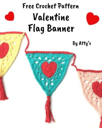 Free Crochet Pattern Valentine Flag Banner