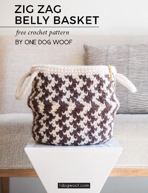 Free Crochet Pattern Zig Zag Belly Basket