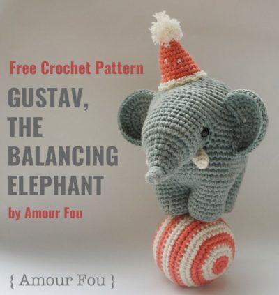 Free Crochet Pattern Gustav Balancing Elephant