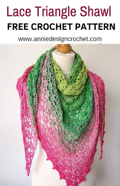 Free Crochet Pattern Lace Triangle Shawl