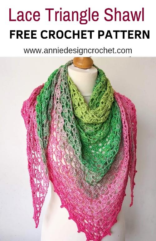 Free Crochet Pattern Lace Triangle Shawl