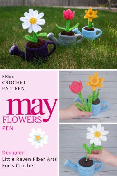 Free Crochet Pattern May Flowers Pen